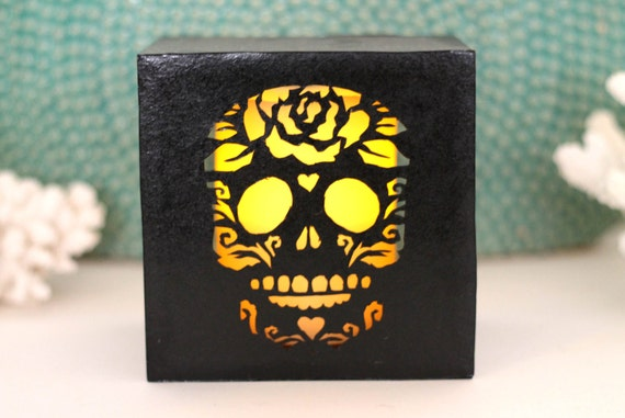 Day Of the Dead Sugar Skull Luminary Cut Paper Wall or Table