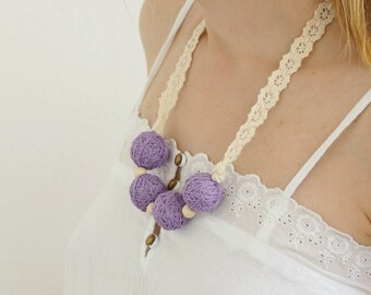 50% SALE Lilac short beads lace necklace balls thread cotton for women fiber natural summer pastel