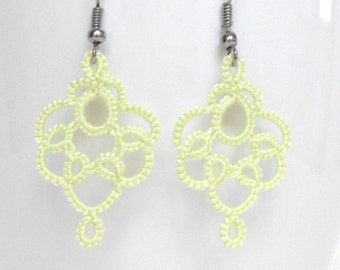 Pale green lace earrings, tatted,