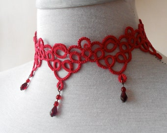 Red tatted necklace - choker - Art Deco