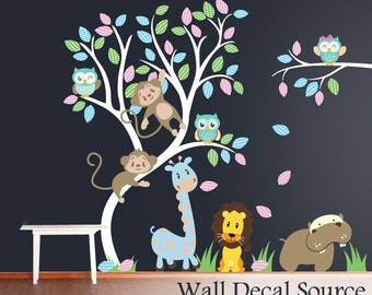 Nursery Wall Decal - Vinyl Wall Tree - Animal Wall Decal - Nursery Tree Wall Sticker