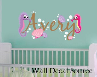Seahorse Wall Decal- Under The Sea Decal - Ocean Wall Decal - Seahorse Wall Decal- Nursery Wall Decal