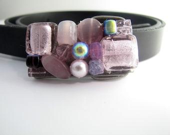 Rectangle Purple Crystal Beadded belt buckle Swarovski crystals, pearls & glass beads, beadded belt buckle, Small buckle, Purple buckle