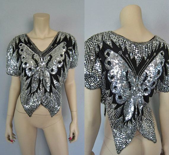 sequin top vintage butterfly