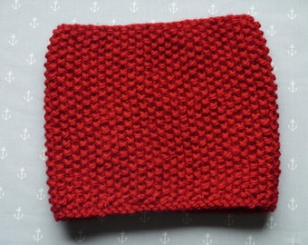 Knitted Women Cowl Snood Neckwarmer in red super chunky wool