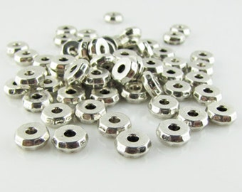 Tibetan silver rhondelle spacer beads, 2mm hole,antique silver, 25 pieces