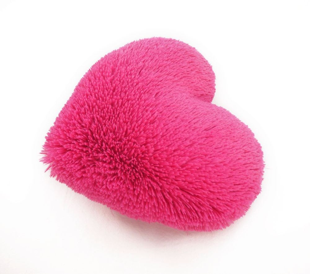 fluffy pink heart shaped decorative pillow valentines day