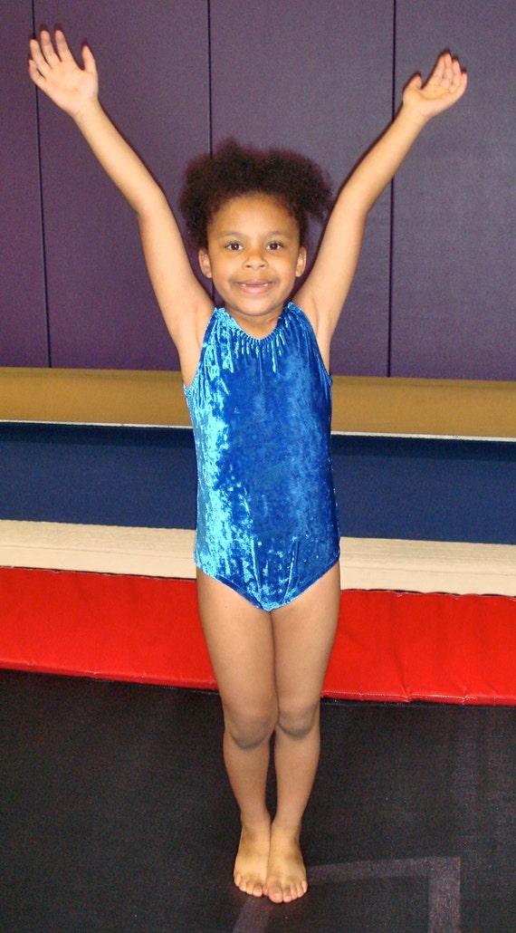 Gymnastics Leotards Dance Leotards Blue Crushed Velvet