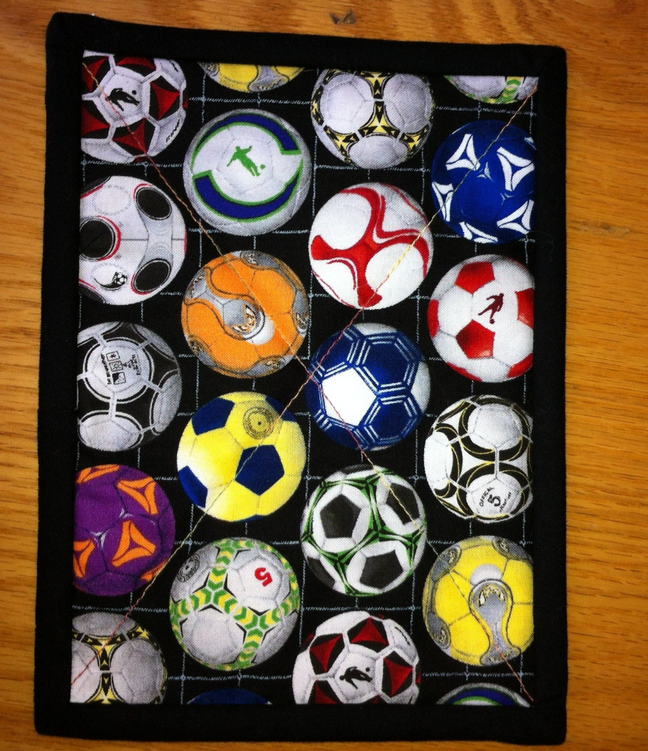 Soccer Or Football Quilted Mug Rug Snack Mat Place Mat Or