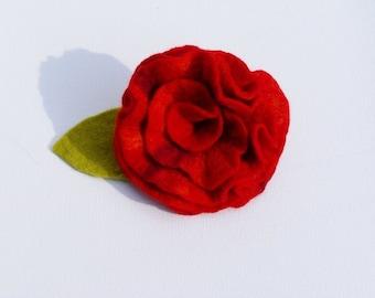 Brooch, felt rose in dark red, flower