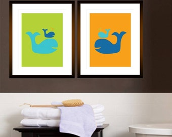 "Childrens Kids Bathroom Art Prints Set of (2) 11"" x 14"" Fine Art Home Decor Green Orange Blue - UNFRAMED"