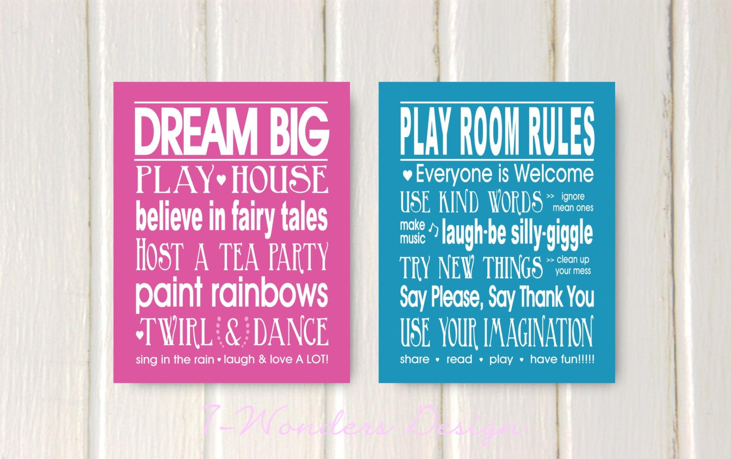 Girls bedroom quotes dream big and play room rules print set for Bedroom furniture quotes