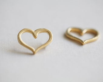 Vermeil Gold Open Heart Charms -  gold plated over sterling silver16mm, 3/4 inch