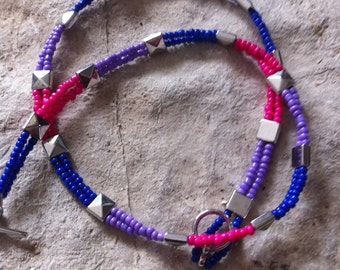 Pink Purple & Blue W/ Silver Squares  necklace