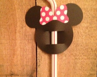 Mickey Minnie Mouse Straw Flags - Set of 12
