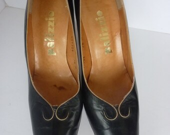 Vintage Shoes 60's High Heel Pumps Navy Leather Shoes Made by Palizzio 1960's Size 7 1/2 M