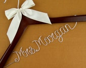 one day promotion, Custom Wedding Hanger, Single Line Wire Name Hanger, Personalized Bridal Hanger, Bridesmaids Name Hanger #7