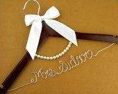 Promotion, Wedding Hanger, lace bow wire name Hanger,  Personalized Custom Bridal Hanger, Bridal Hanger, Bride name hanger p01