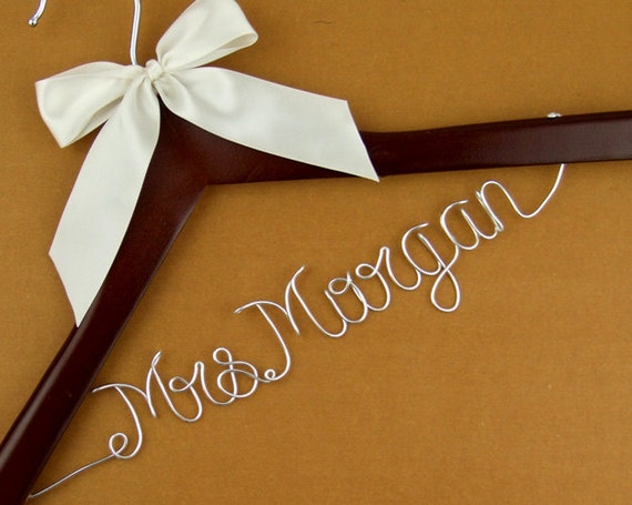 Personalized wedding hanger wedding dress hanger by for Custom wedding dress hanger