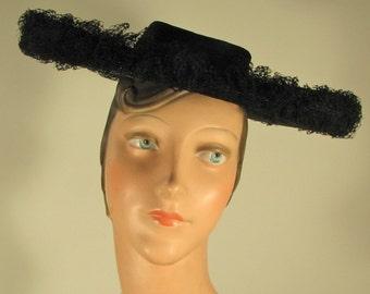 "40s /50s ""New Look"" Black Cartwheel Hat / Saks Fifth Ave. /  Betty Davis"