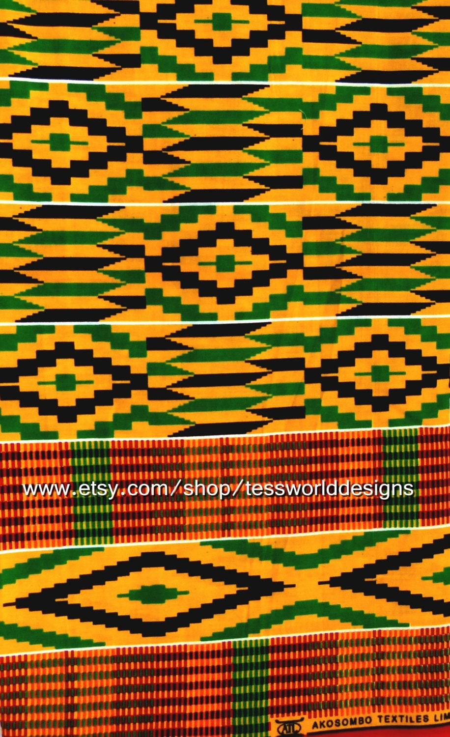 Fabric Authentic Cotton Kente Cloth African Fabric African