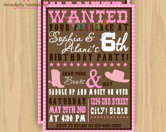 DIY Wanted Cow Girl Invitation -Personalized Invitation by Serendipity Party Shop