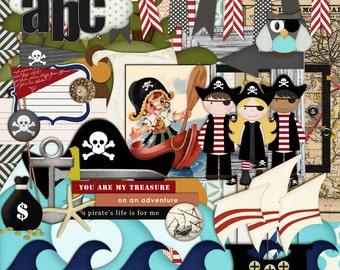 "INSTANT DOWNLOAD Digital Scrapbooking Kit ""Pirates Ahoy"" - Pirates- Boys - Girls - Sea - Treasure Chest"