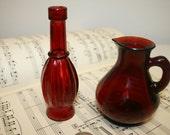 Vintage ruby red bottles, old bottles, red bottles, cruet, avon bottle, red glass, ruby bottles, glass, rubby
