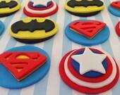 "12 Fondant ""Super hero"" inspired cupcake toppers, ""batman"",""superman"",""captain america""inspired theme,edible heroes,hero cake decorations"
