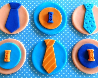 12 Fondant edible cupcake/cookie toppers, baby boy shower, fondant tie, fondant letters, fondant number, adult birthday party,mustache party
