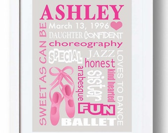 BALLET Girls Room Wall Art - Personalized Print for Girl - Custom Gift for Girl's Birthday - Subway Art - Words can be personalized