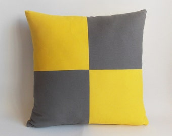 Decorative pillow Yellow Gray Throw pillow Pillow cover 18'' x 18'' (45 cm x 45 cm) Cotton Canvas Blend