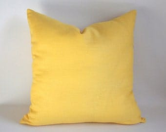 SET OF 2 /Yellow Linen Pillow, 18''x18'' Cushion Cover,  Decorative Pillow, Throw Pillow Cover