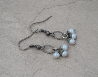 Wire Wrapped Pearl and Antiqued Gold Earrings - ON SALE - 50% OFF