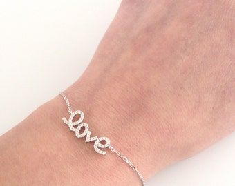 Love bracelet Sterling Silver, Silver Love Bracelet, Dainty everyday jewelry, Bridesmaids Gift, Valentine's day Gift
