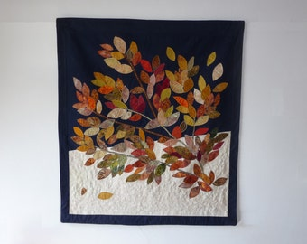 SOLD. Free shipping. Fall colors art quilt. Wall hanging modern art quilt. A gift for golden wedding anniversary, gift for housewarming.