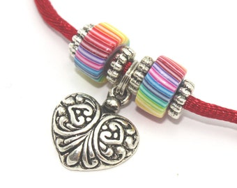 Heart necklace with polymer clay stripes rainbow beads and silver plated charms, Valentines day gift, pendant gift for girls and teens