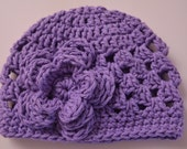 SALE Ready to Ship 3-6 months Crochet Cotton Baby Hat, Purple Infant Girls Beanie Hat with Flower