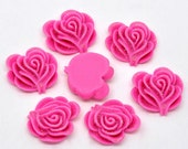 10 Resin Flower Cabochon Rose with Iridescent Glitter 21 x 19mm -  HOT PINK  - Pack of 10 CAB46