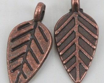 70pcs antiqued copper leaf design charms EF0177