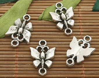 40pcs dark silver tone Dragonfly connector h3623