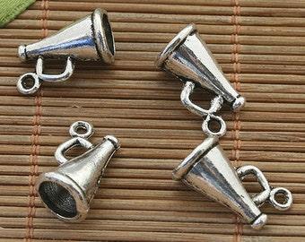 30pcs dark silver tone horn pendant charm h3869