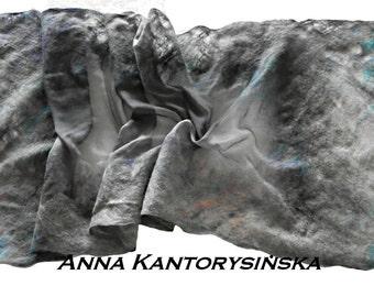 felted silk scarf shawl FOG handmade, wool scarf, 100% natural, eco fashion by Kantorysinska