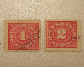 1917 Antique US Documentary 1 & 2 Cent Stamps, Lot of 2, Scott R228 and R229