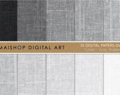 Digital Paper Linen 'Gray Shades' Textured Neutral Backgrounds Instant Download for Invitations, Crafts, Decoupage, Scrapbooking...