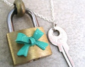 Padlock And Key Necklace - Robin's Egg Blue Colored Bow - Hardware Jewelry - Teal - Piece Lust