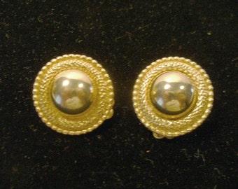 Large Elegant Coro Round Sparkle Gold Tone Clip Earrings
