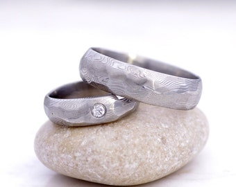 """Diamond Wedding Ring, Engagement band, diamond jewelry - Hand forged stainless damascus steel ring - """"Rocksteel"""" with diamond 2.3mm"""