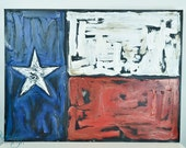 "Texas Flag - 30"" x 40"" textured acrylic painting"