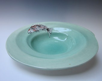 Fish Bowl, Koi Plat , Koi Serving Bowl , Fish Plate, Ceramic Fish Plate, Ceramic Koi Plate